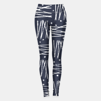 Miniatur Abstract Pattern - Navy and White Leggings, Live Heroes