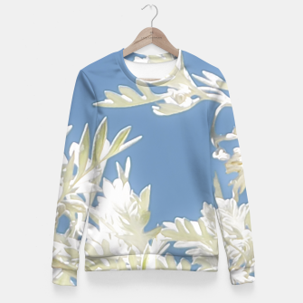 Thumbnail image of White Plants over Blue Sky Fitted Waist Sweater, Live Heroes
