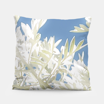 Thumbnail image of White Plants over Blue Sky Pillow, Live Heroes