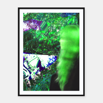 Thumbnail image of Walking by in greenhair Framed poster, Live Heroes