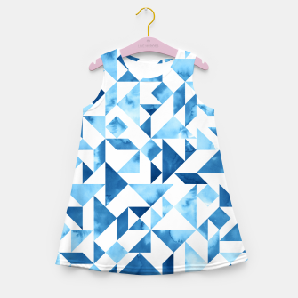 Miniature de image de Blue Tangram Composition Girl's Summer Dress, Live Heroes