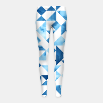 Miniature de image de Blue Tangram Composition Girl's Leggings, Live Heroes