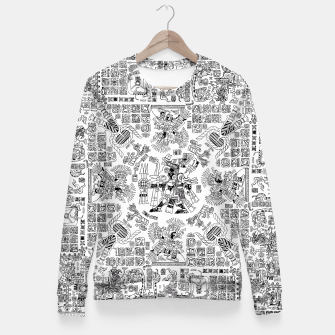 Thumbnail image of Mayan Spring B&W Fitted Waist Sweater, Live Heroes