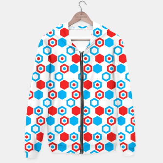 Miniatur Retro Hexagons - Red White and Blue Hoodie, Live Heroes