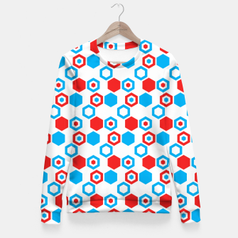 Miniatur Retro Hexagons - Red White and Blue Fitted Waist Sweater, Live Heroes