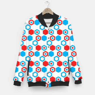 Miniaturka Retro Hexagons - Red White and Blue Baseball Jacket, Live Heroes