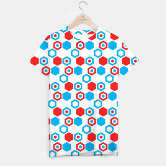 Miniatur Retro Hexagons - Red White and Blue T-shirt, Live Heroes