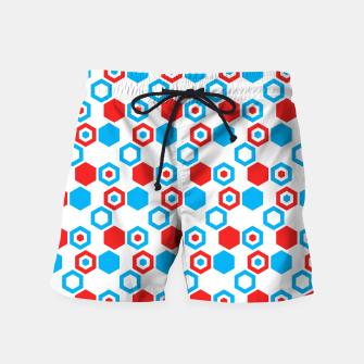 Miniatur Retro Hexagons - Red White and Blue Swim Shorts, Live Heroes