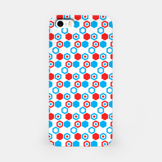 Miniatur Retro Hexagons - Red White and Blue iPhone Case, Live Heroes