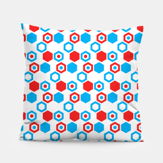 Miniatur Retro Hexagons - Red White and Blue Pillow, Live Heroes