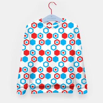 Miniatur Retro Hexagons - Red White and Blue Kid's Sweater, Live Heroes