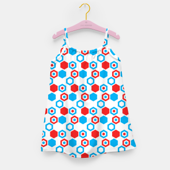 Miniatur Retro Hexagons - Red White and Blue Girl's Dress, Live Heroes