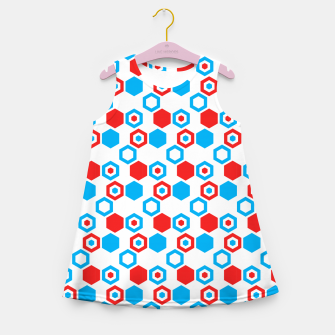 Miniatur Retro Hexagons - Red White and Blue Girl's Summer Dress, Live Heroes