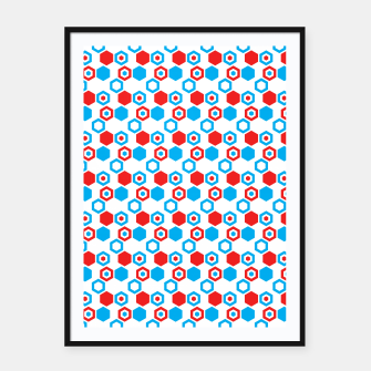 Miniatur Retro Hexagons - Red White and Blue Framed poster, Live Heroes