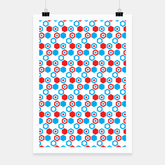 Miniatur Retro Hexagons - Red White and Blue Poster, Live Heroes
