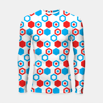 Miniatur Retro Hexagons - Red White and Blue Longsleeve Rashguard , Live Heroes