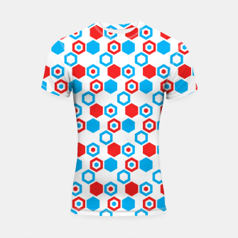Miniatur Retro Hexagons - Red White and Blue Shortsleeve Rashguard, Live Heroes