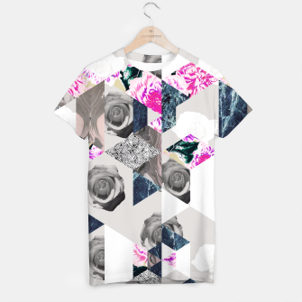 Thumbnail image of Geometric mosaic of textures and roses Camiseta, Live Heroes
