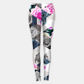 Thumbnail image of Geometric mosaic of textures and roses Leggings, Live Heroes
