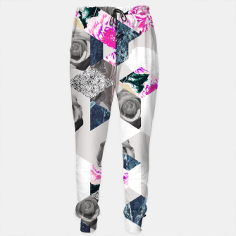 Thumbnail image of Geometric mosaic of textures and roses Pantalones de chándal, Live Heroes