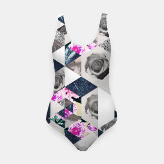 Thumbnail image of Geometric mosaic of textures and roses Traje de baño, Live Heroes