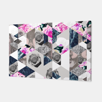 Thumbnail image of Geometric mosaic of textures and roses Canvas, Live Heroes