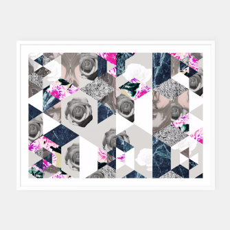 Thumbnail image of Geometric mosaic of textures and roses Cartel con marco, Live Heroes