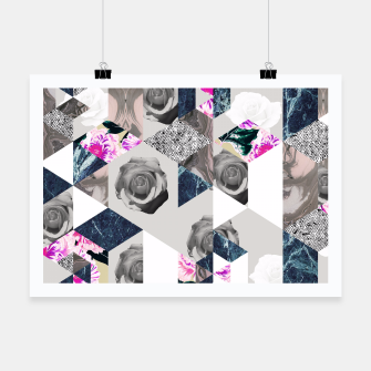 Thumbnail image of Geometric mosaic of textures and roses Cartel, Live Heroes