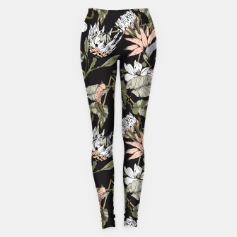 Miniatur Dark pattern botanical boho Leggings, Live Heroes