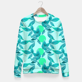 Miniatur Blue Loner Leaves Fitted Waist Sweater, Live Heroes