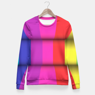 Thumbnail image of Bright Curved Vibrant Abstract Fitted Waist Sweater, Live Heroes