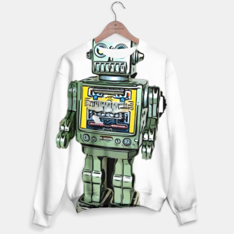 Thumbnail image of Robot Cartoon CLEAR print background Sweater, Live Heroes