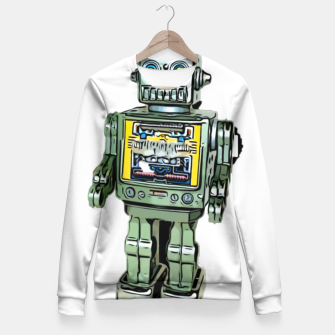 Thumbnail image of Robot Cartoon CLEAR print background Fitted Waist Sweater, Live Heroes