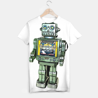 Thumbnail image of Robot Cartoon CLEAR print background T-shirt, Live Heroes