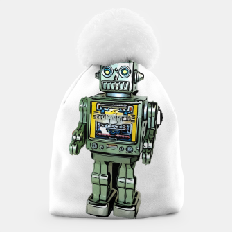 Thumbnail image of Robot Cartoon CLEAR print background Beanie, Live Heroes