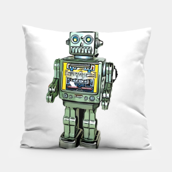 Thumbnail image of Robot Cartoon CLEAR print background Pillow, Live Heroes