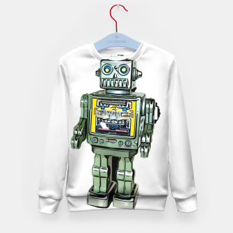 Thumbnail image of Robot Cartoon CLEAR print background Kid's Sweater, Live Heroes