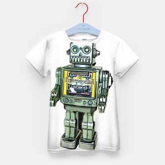 Thumbnail image of Robot Cartoon CLEAR print background Kid's T-shirt, Live Heroes