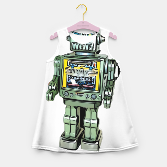 Thumbnail image of Robot Cartoon CLEAR print background Girl's Summer Dress, Live Heroes