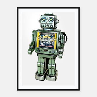 Thumbnail image of Robot Cartoon CLEAR print background Framed poster, Live Heroes