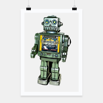 Thumbnail image of Robot Cartoon CLEAR print background Poster, Live Heroes