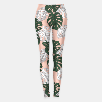 Thumbnail image of Hand drawing monstera pastel color Leggings, Live Heroes