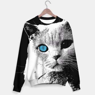 cat 2 black and white Bluza obraz miniatury