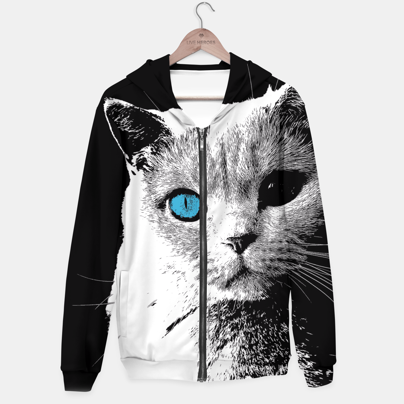 Zdjęcie cat 2 black and white Bluza z kapturem - Live Heroes