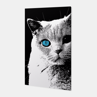 cat 2 black and white Canvas obraz miniatury