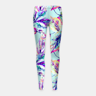 Thumbnail image of Abstract painting of leaves Leggings para niña, Live Heroes