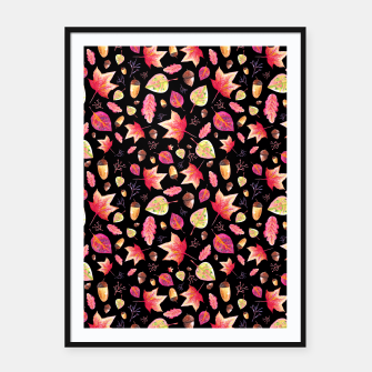 Thumbnail image of Watercolor Autumn Pattern Framed poster, Live Heroes