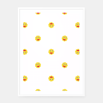 Thumbnail image of Happy Sun Motif Kids Pattern Framed poster, Live Heroes