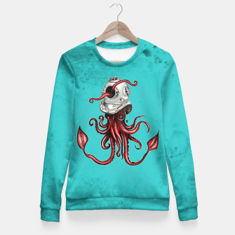 Thumbnail image of Squid with Diving Helmet Fitted Waist Sweater, Live Heroes