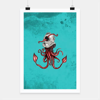 Thumbnail image of Squid with Diving Helmet Poster, Live Heroes